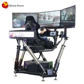 Cina Fiberglass 9D Simulator, Mesin Game Balap Dinamis 6 Dof 3 Screen Car Driving Simulator pabrik
